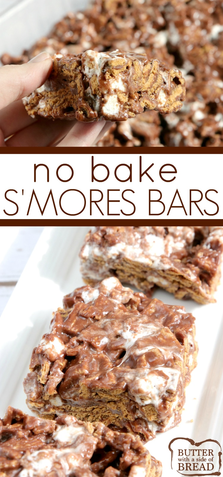 No Bake S'mores Bars are made with Golden Grahams, melted chocolate and marshmallows. This delicious no bake dessert recipe comes together in just a few minutes and tastes just like s'mores, without the mess or the campfire!