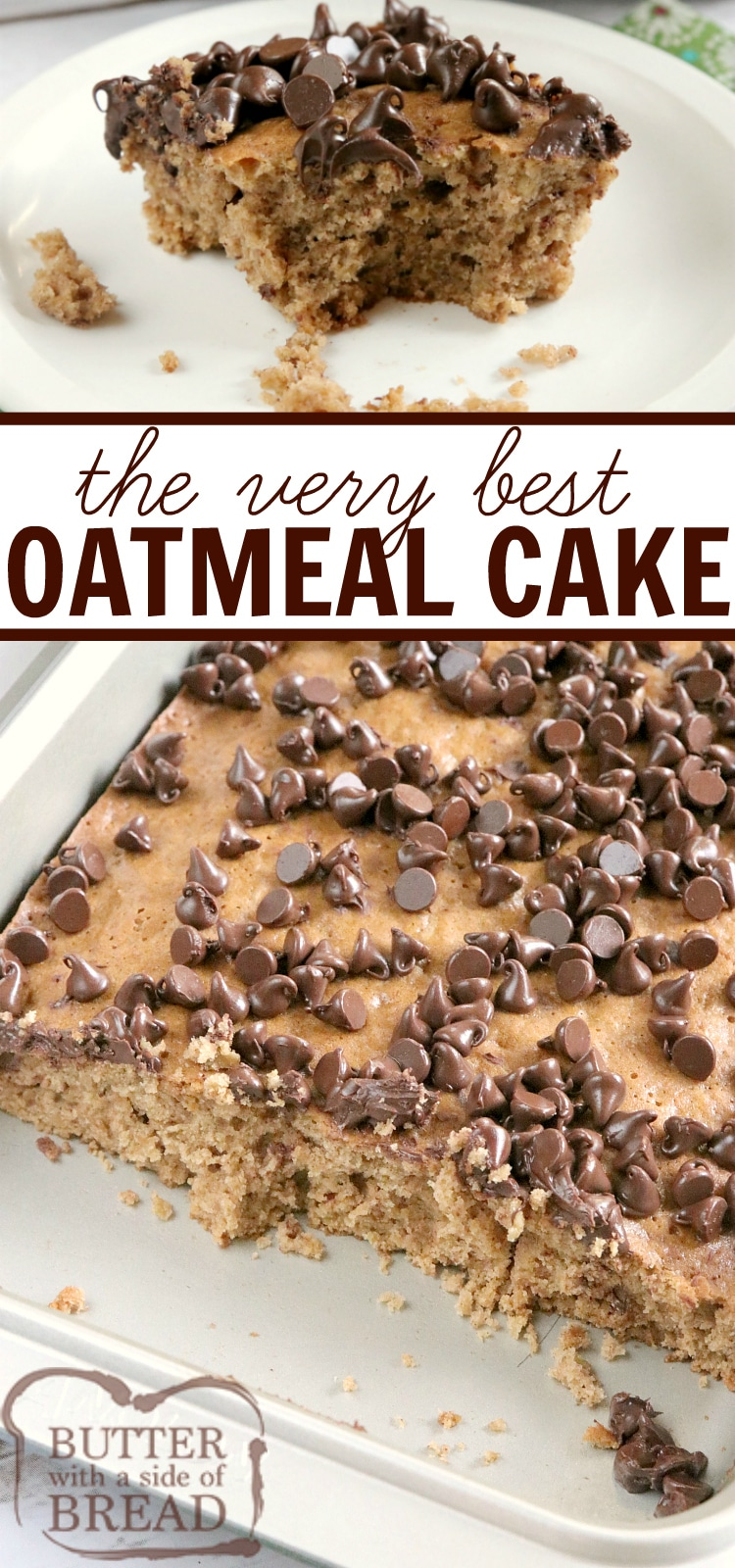 Oatmeal Cake recipe that is moist, full of oats and easily topped with chocolate chips. This easy cake recipe is made with simple ingredients that yield such a delicious cake, you don't even need frosting!