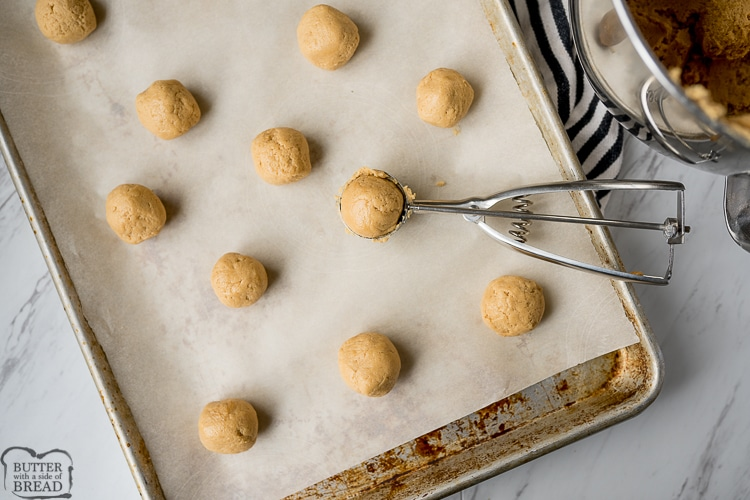 peanut butter cookies scooped and rolled