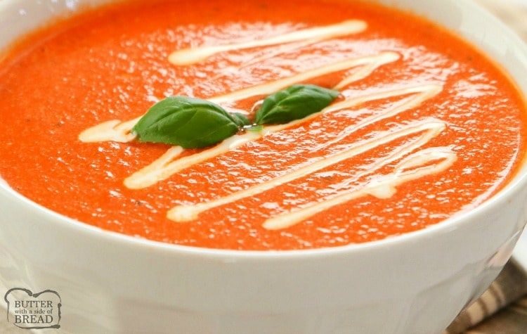 Easy 10-Minute Tomato Basil Soup recipe made with San Marzano style tomatoes, broth, fresh basil & butter. Smooth & tangy tomato soup that comes together fast.