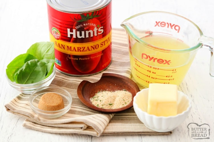 ingredients for easy tomato basil soup