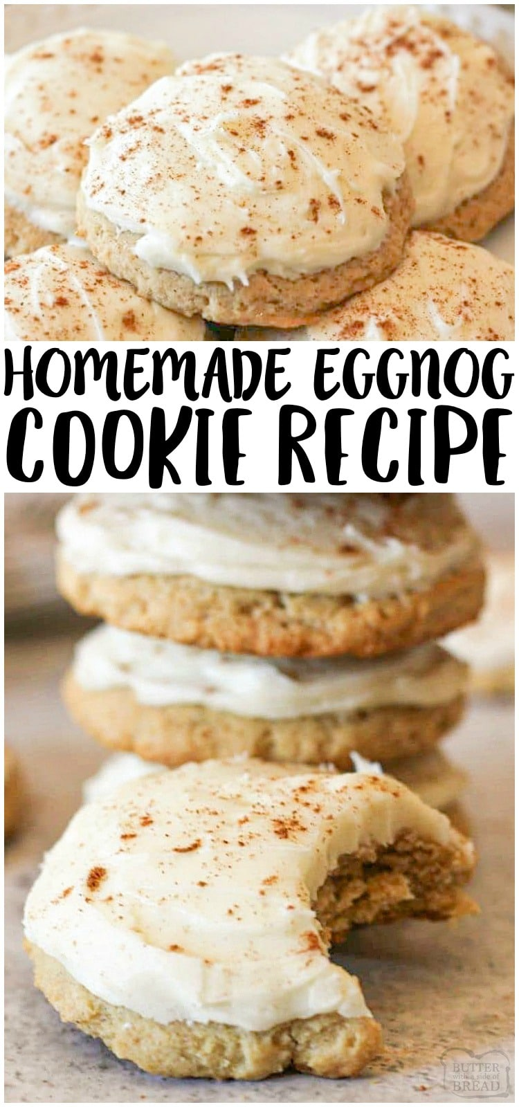 Eggnog Cookies perfect for Santa! Soft & chewy sugar cookies topped with a creamy frosting all with the delicious flavor of eggnog! Lovely cookie recipe for Eggnog lovers.