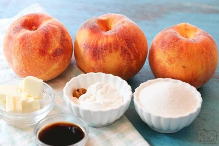 Ingredients needed to make peaches and cream syrup for waffles