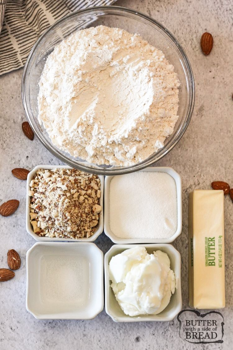Ingredients needed to make holiday almond crescent cookie recipe