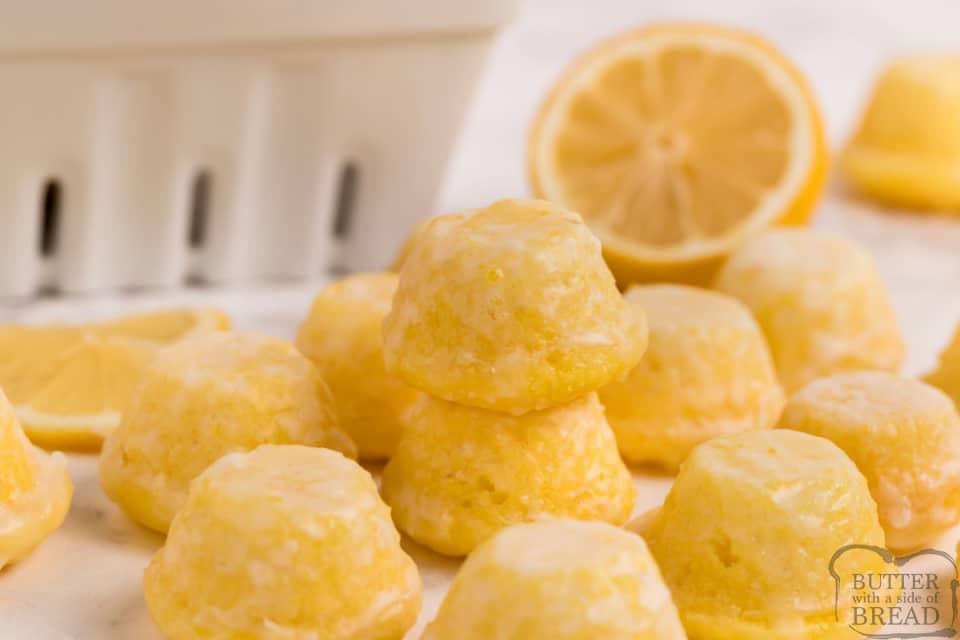 Mini Lemon Cupcakes dipped in a simple lemon glaze