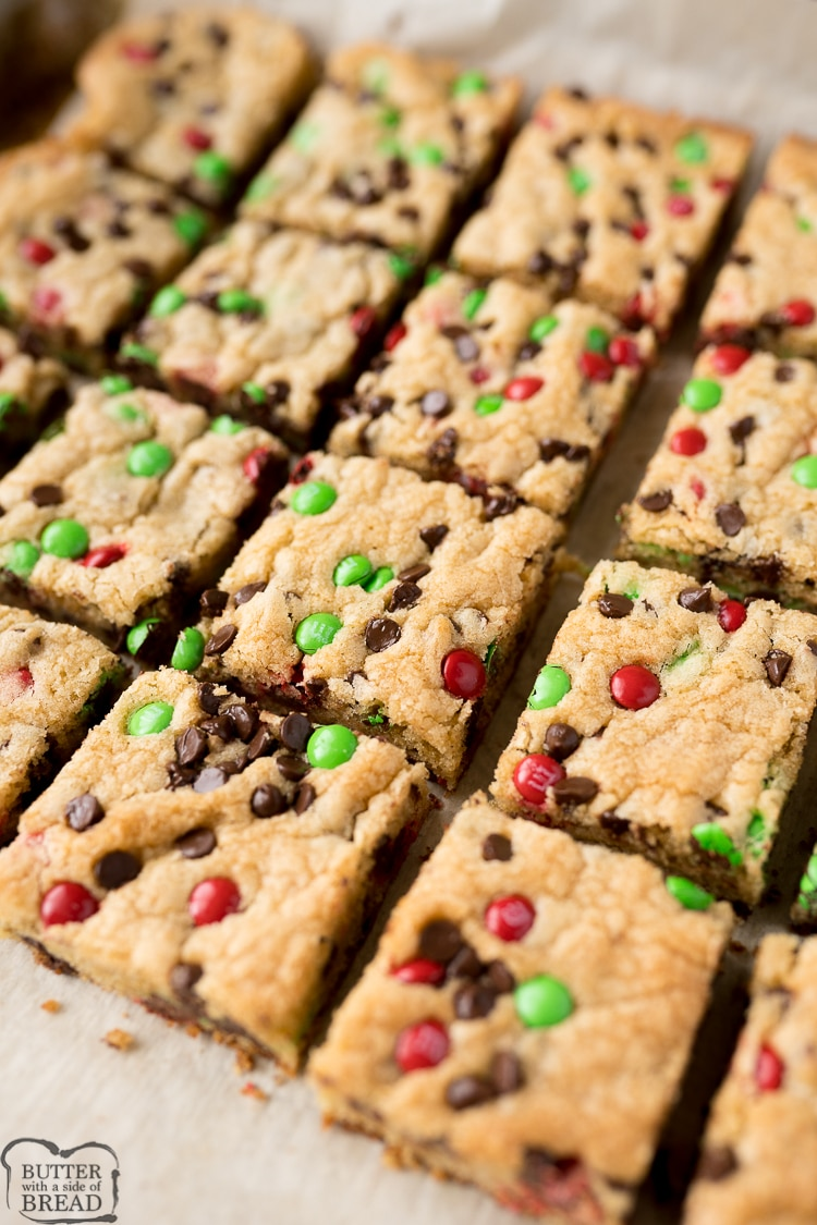 Christmas cookie bars cut into bars