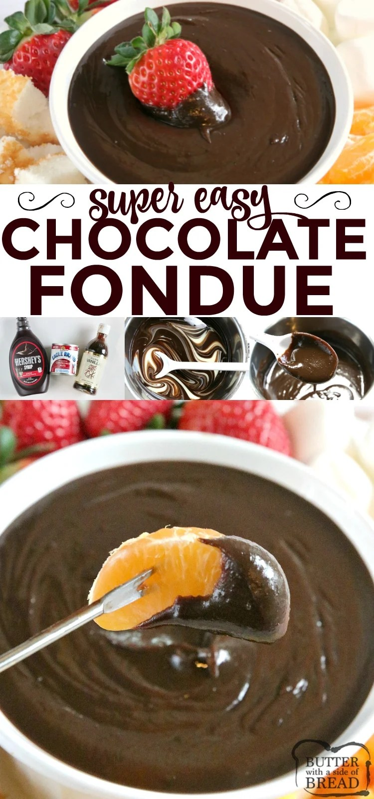 Easy Chocolate Fondue is made on the stove with only 3 ingredients and is the most delicious dessert for all occasions!