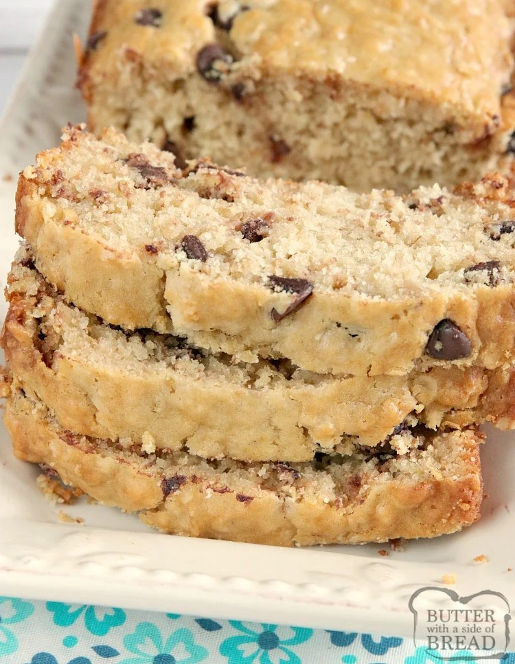 Chocolate Chip Oatmeal Bread is like a oatmeal chocolate chip cookie in bread form! This simple quick bread recipe is super easy to make and turns out perfectly soft and moist every time.