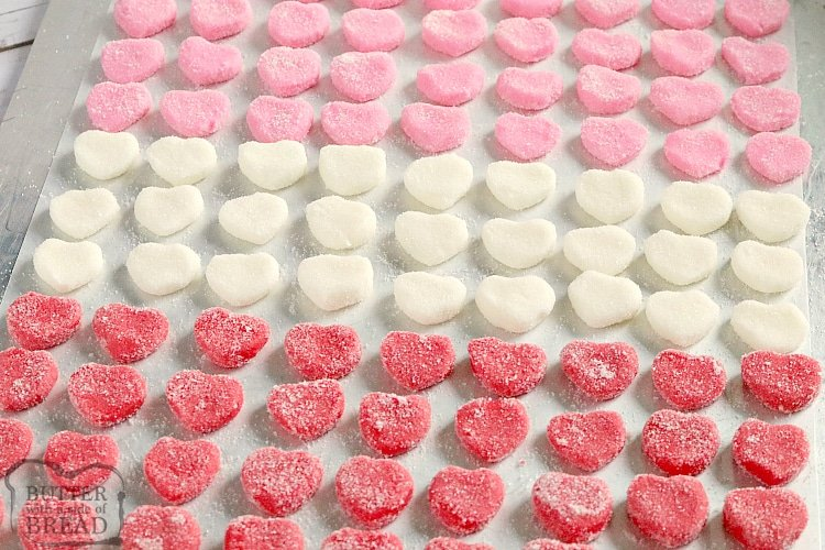 Making butter mints in heart shapes for Valentines Day