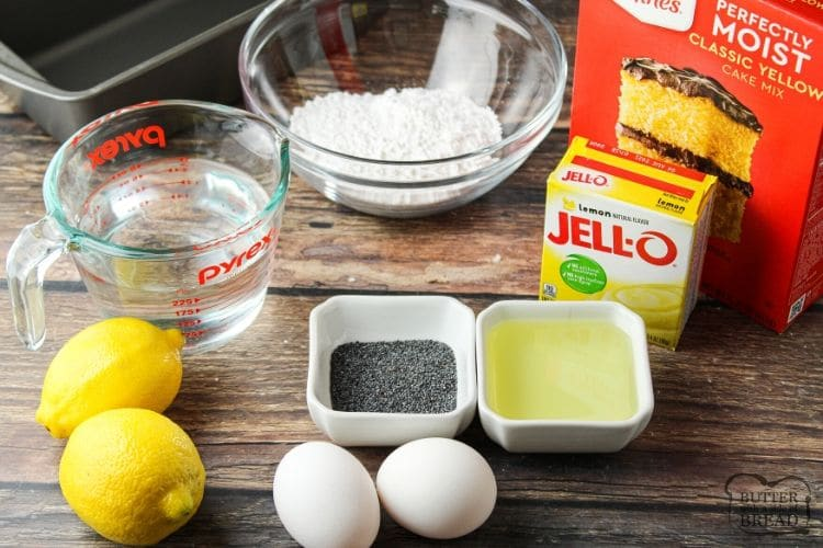 ingredients for lemon poppy seed bread