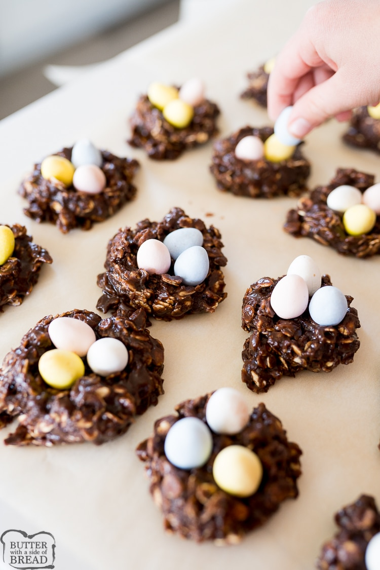 adding chocolate eggs to the cookies