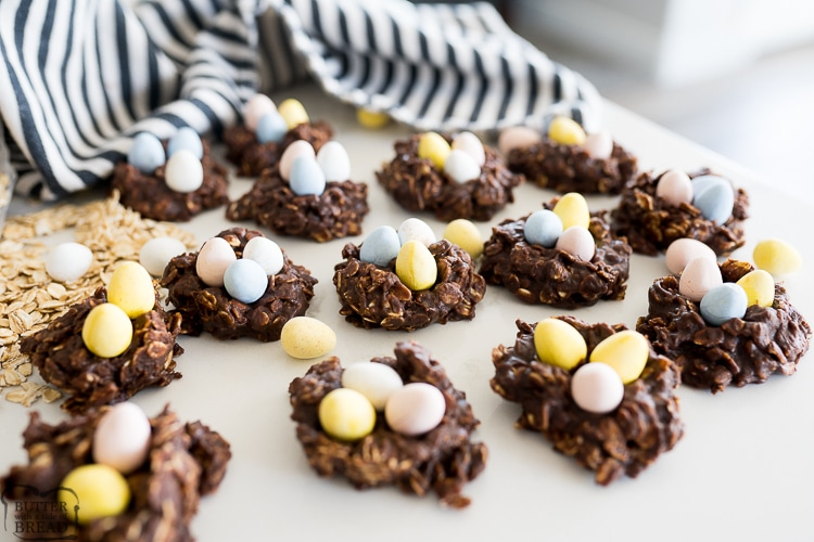 Easter Nest cookies are the perfect easy and festive dessert to make with your family! The soft chocolate no-bake oatmeal cookie is the perfect nest for your chocolate egg candies!