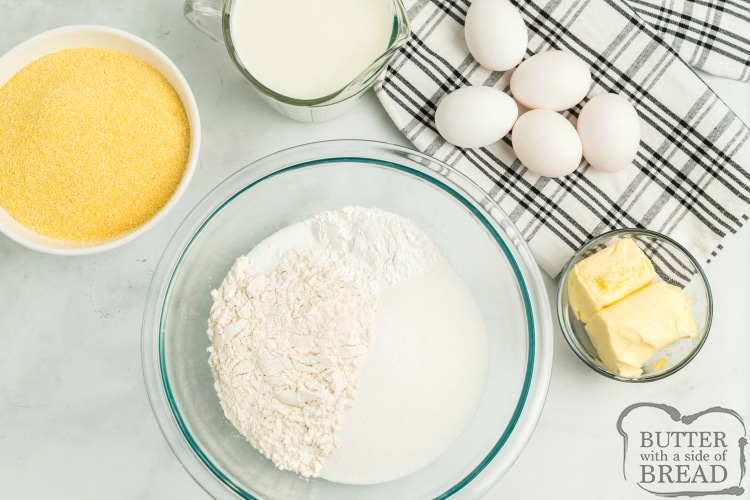 Ingredients for making cornbread from scratch