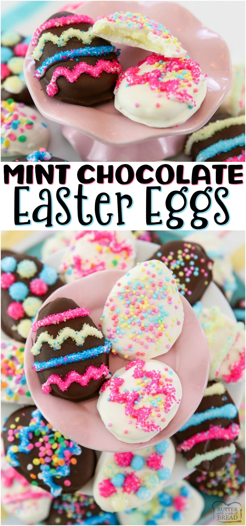 Chocolate Mint Easter Eggs recipe with just a handful of ingredients! Homemade York Peppermint Patties but BETTER, in the shape of darling Easter eggs. Simple soft, sweetened mint candy covered in chocolate for a delicious, easy Easter candy. #Easter #MintChocolate #candy #peppermint #peppermintpatty #homemade #holiday #recipe from BUTTER WITH A SIDE OF BREAD