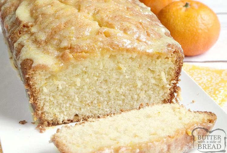 Loaf of orange juice bread, sliced
