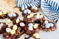 No Bake Easter chocolate Oatmeal Nest Cookies