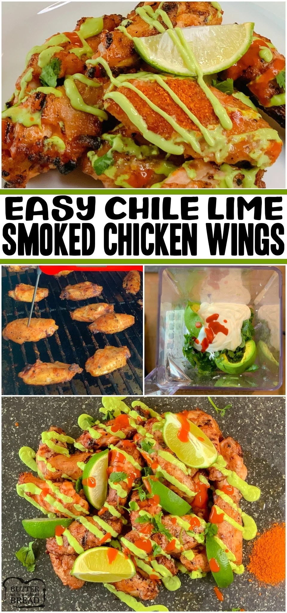 Chile Lime Smoked Chicken Wings made easy with a bit of prep and under an hour on the smoker! Bold, fresh flavors of chile lime paired with tender smoked chicken wings and topped with an amazing avocado crema make this my go-to wings recipe!