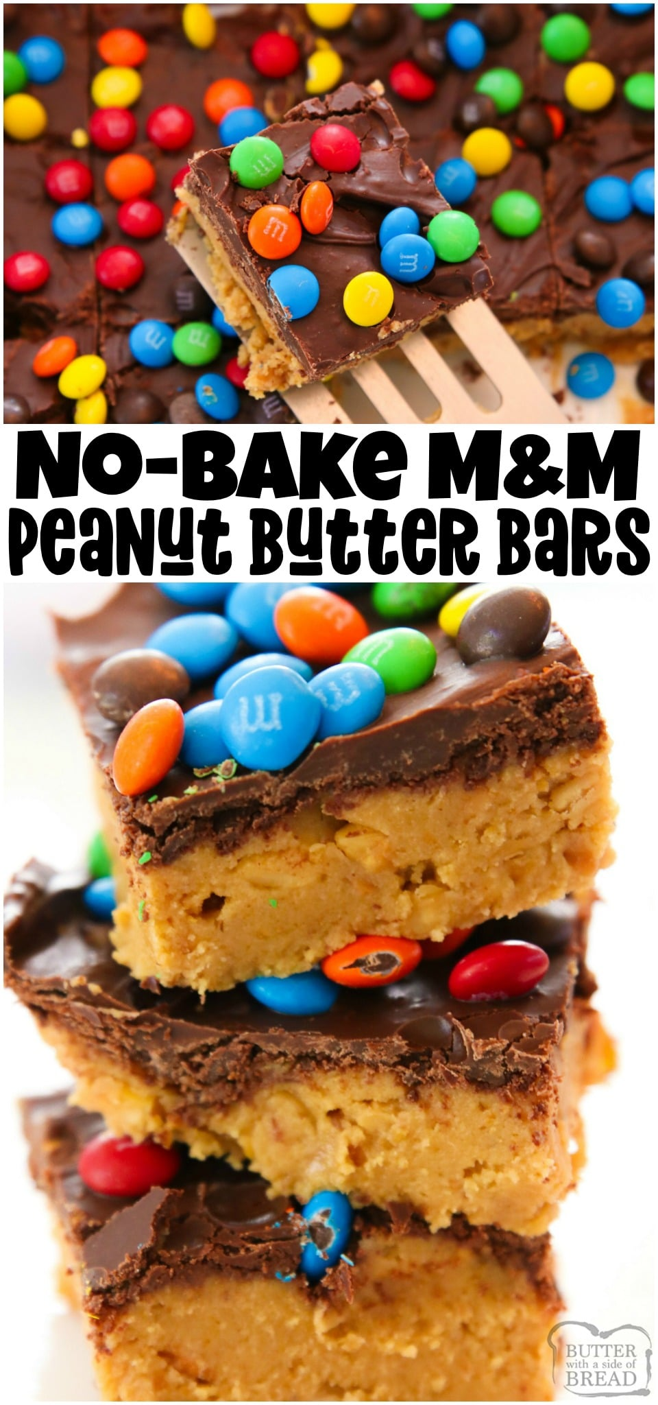 No Bake M&M Peanut Butter Bars are the perfect no-bake dessert to make this summer! Graham cracker crumbs, peanut butter and both chocolate chips and M&M's combine in this sweet and salty treat.