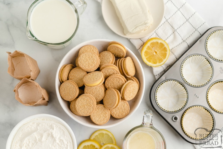 Ingredients in mini no bake cheesecakes