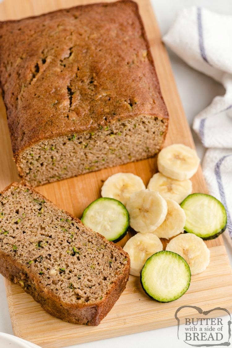 Zucchini Banana Bread is a perfect combination of zucchini bread and banana bread, all in one delicious quick bread recipe!