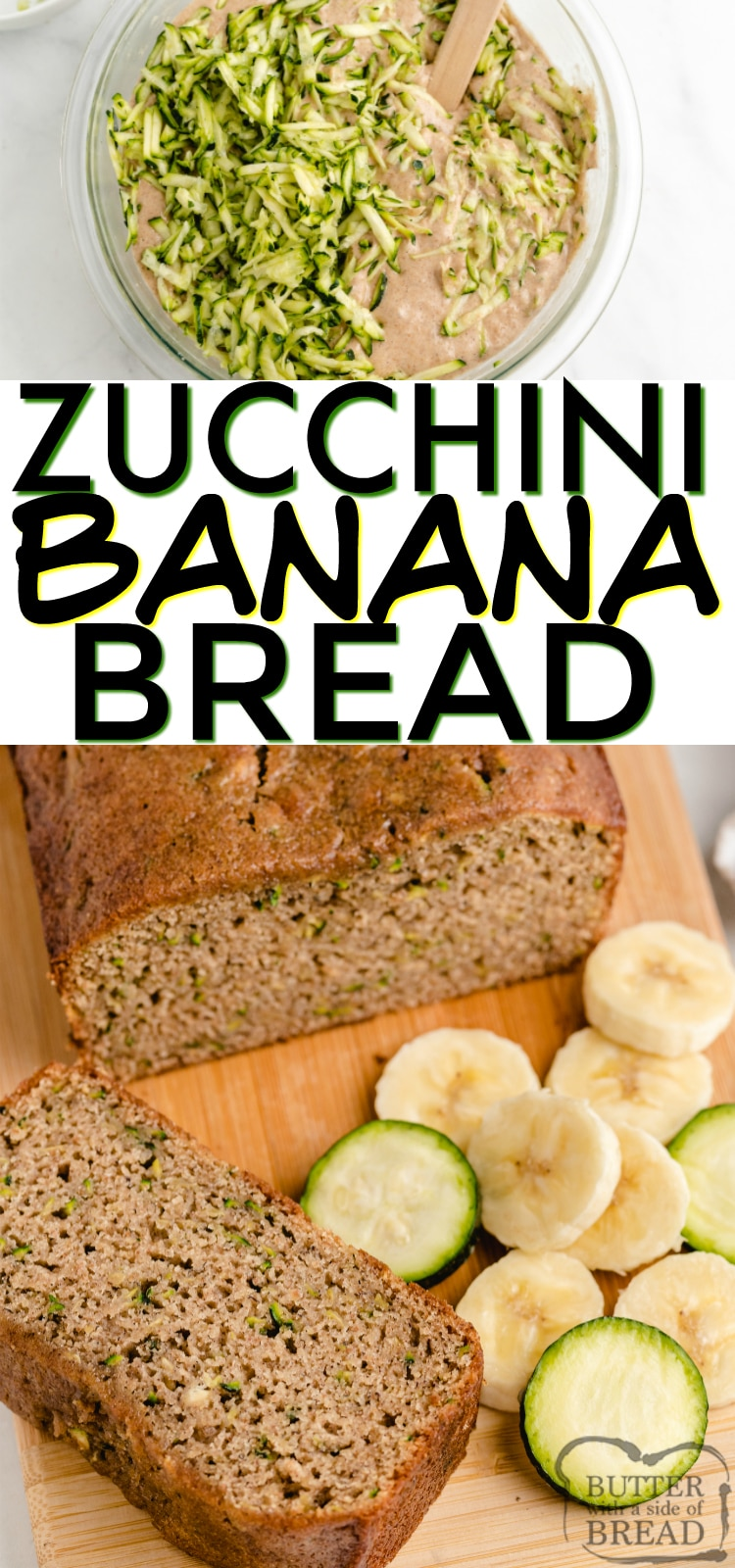 Zucchini Banana Bread is a perfect combination of zucchini bread and banana bread, all in one delicious quick bread recipe!