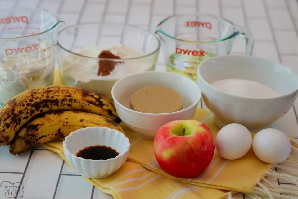 Cinnamon Apple Banana Bread recipe ingredients