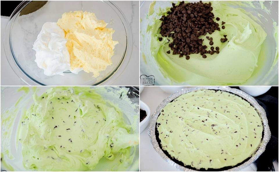 How to make Mint Chocolate Chip Cream Pie recipe