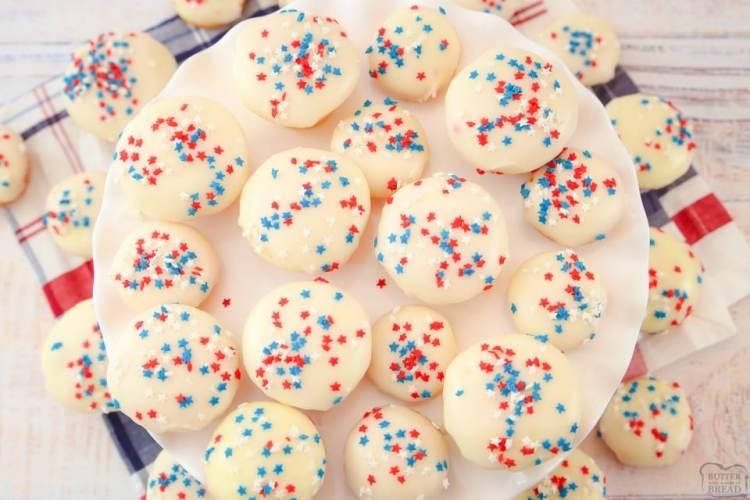 Easy Vanilla Patriotic Cake Bites