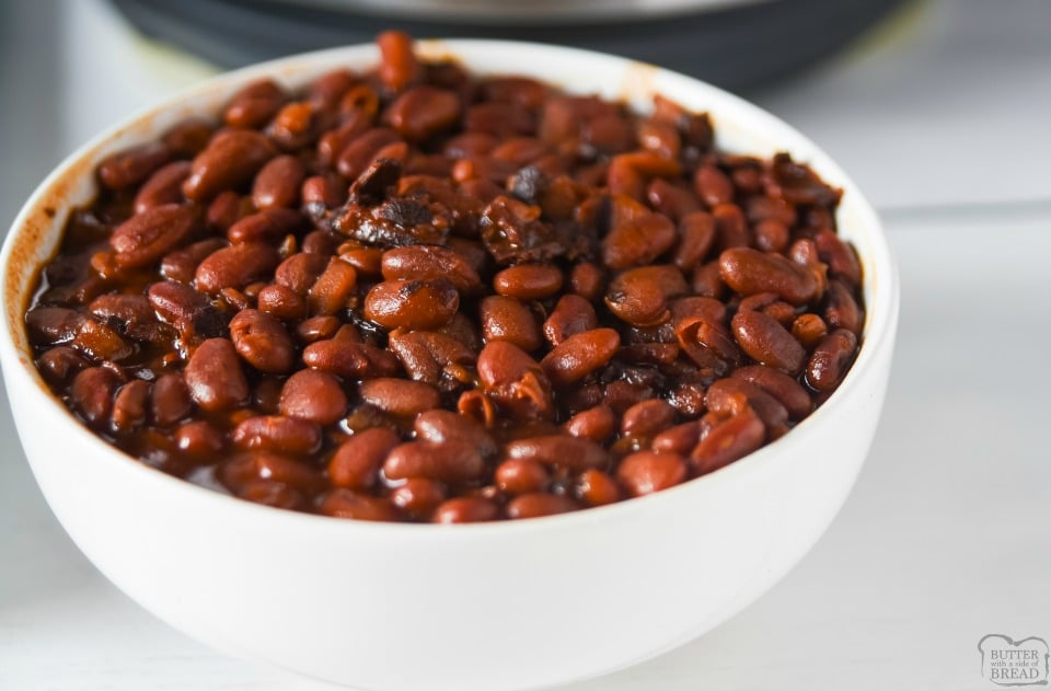Easy No Soak Instant Pot Baked Beans with bacon