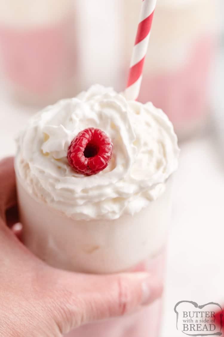 Raspberry Milkshake recipe with cream cheese, cream soda, raspberries and ice cream