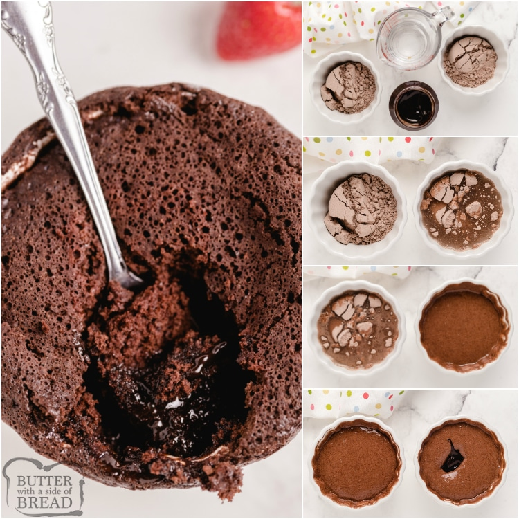 Step by step instructions on how to make individual molten lava cakes in the microwave