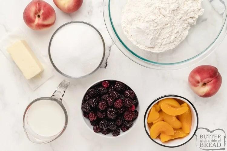 Ingredients in blackberry peach cobbler
