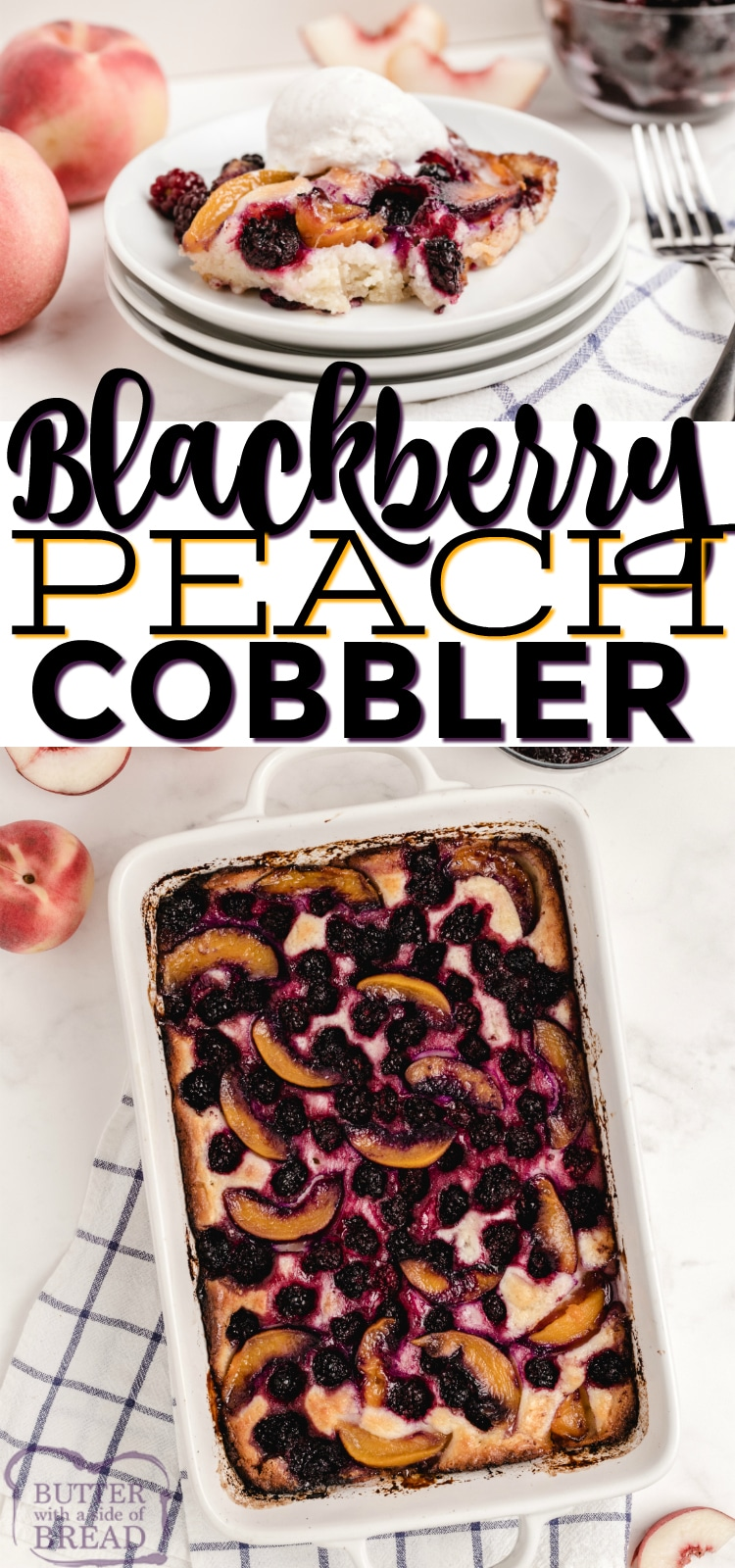 Blackberry Peach Cobbler is made with canned peaches, frozen blackberries and a few other simple ingredients. Delicious easy cobbler recipe!