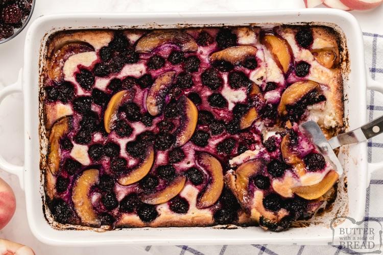 Peach cobbler with blackberries