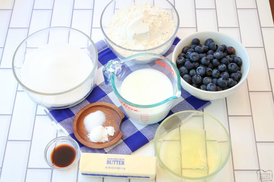 Buttery Blueberry Snack Cake ingredients