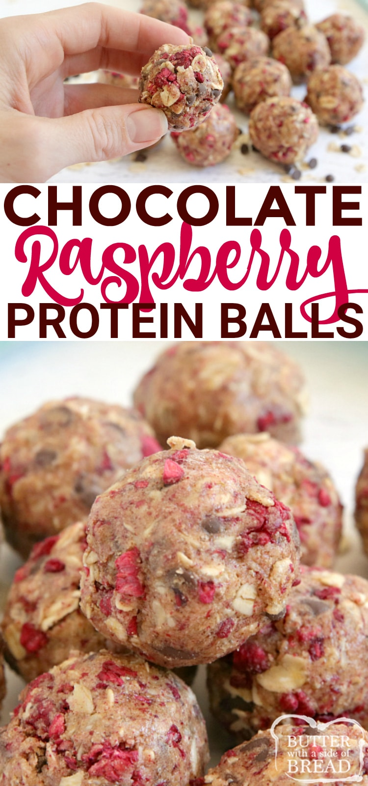 Chocolate Raspberry Protein Balls are simple, delicious, full of protein and can be made in just a few minutes! Made with protein powder, almond butter and freeze-dried raspberries for a high-protein snack.