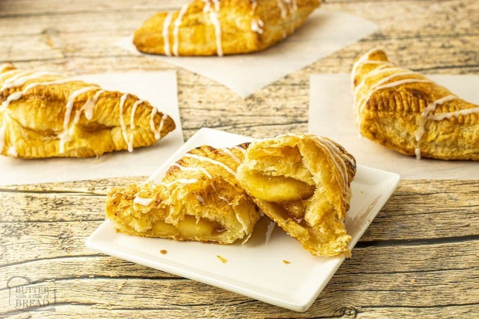 turnovers with apple and icing
