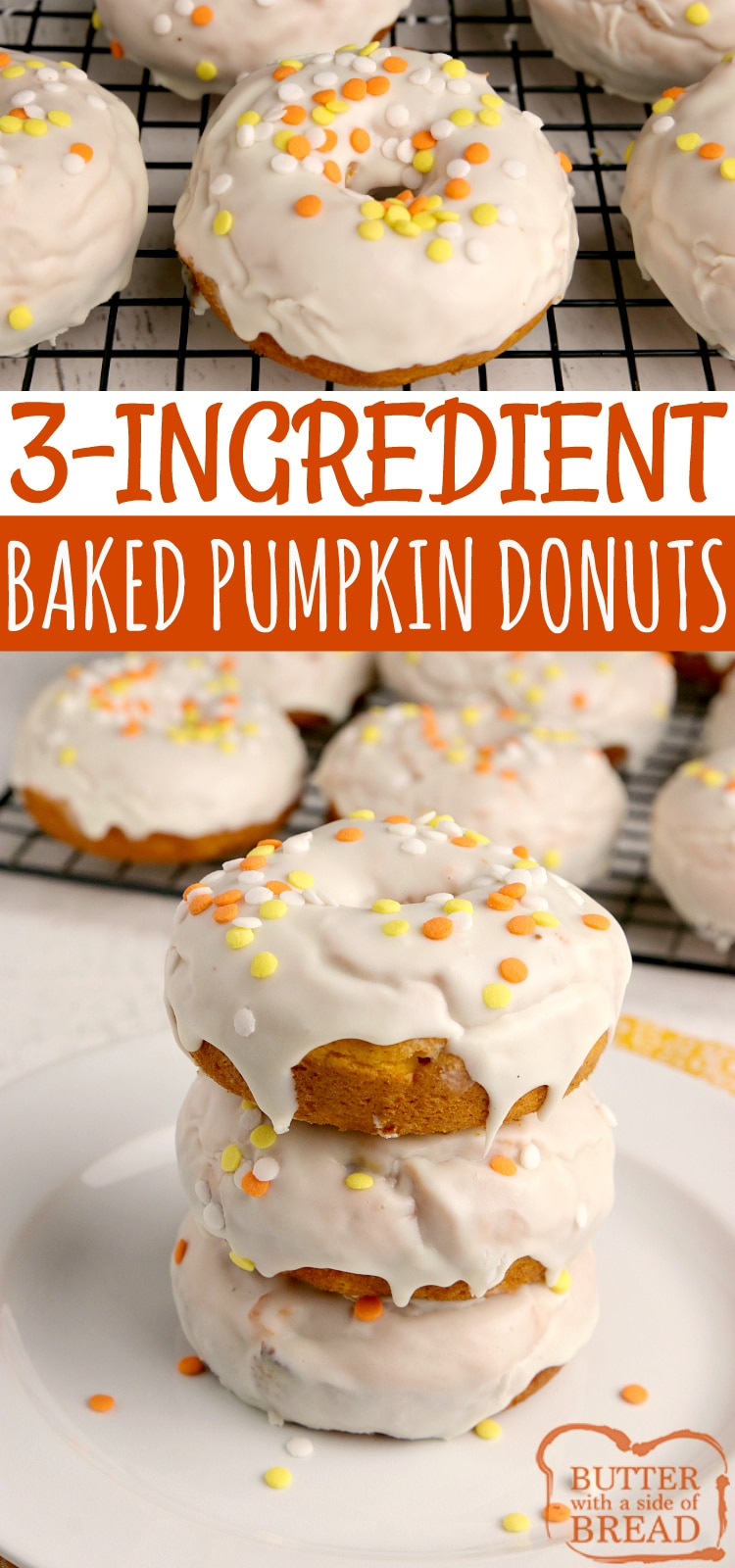 3-Ingredient Baked Pumpkin Donuts made with pumpkin, cake mix and frosting and completely baked in under 15 minutes! Easy cake mix donut recipe that yields soft, delicious doughnuts with tons of pumpkin flavor!