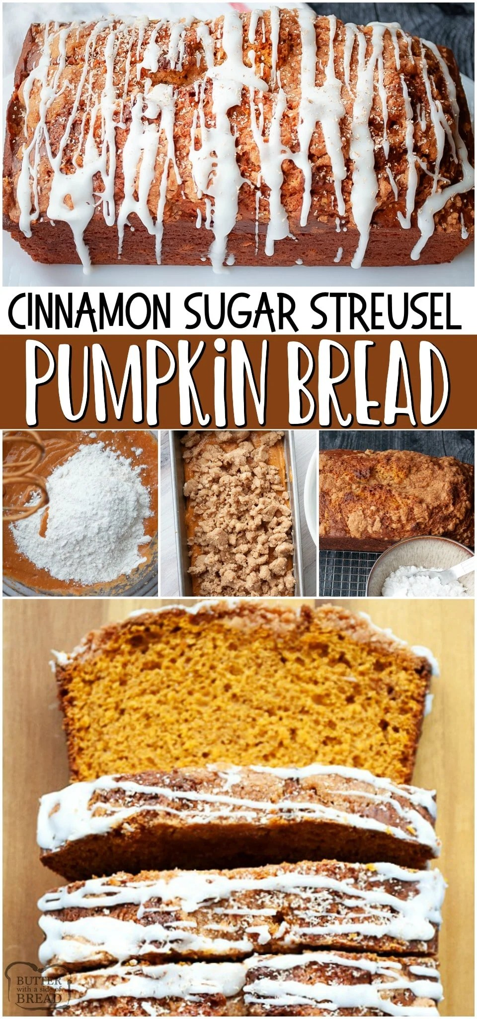 Pumpkin bread with streusel topping ~ classic pumpkin quick bread recipe made with pumpkin, brown sugar, spices & more. Moist pumpkin bread with cinnamon sugar topping and a simple glaze, this bread is a perfect snack or treat.