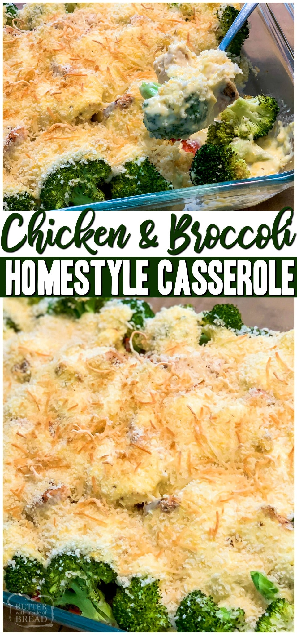 Chicken and Broccoli Casserole~ we're sharing our family recipe that's been passed down generations! Creamy cheese sauce mixed with delicious tender chicken and broccoli topped with buttery bread crumbs make it the perfect comfort food!