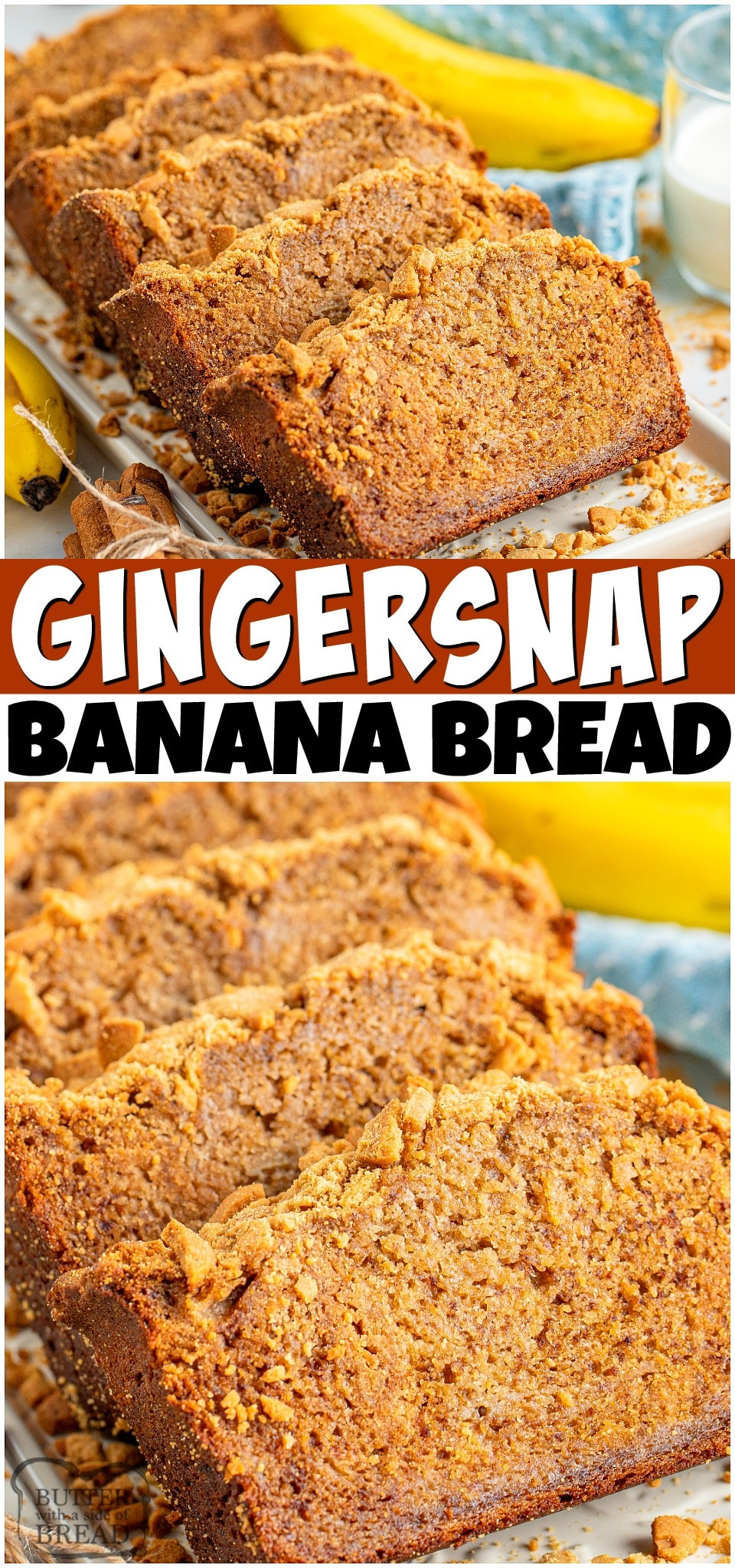 Gingersnap Banana Bread is a spiced banana bread recipe topped with crushed gingersnap cookies! The flavors meld into perfection in this incredible banana quick bread.