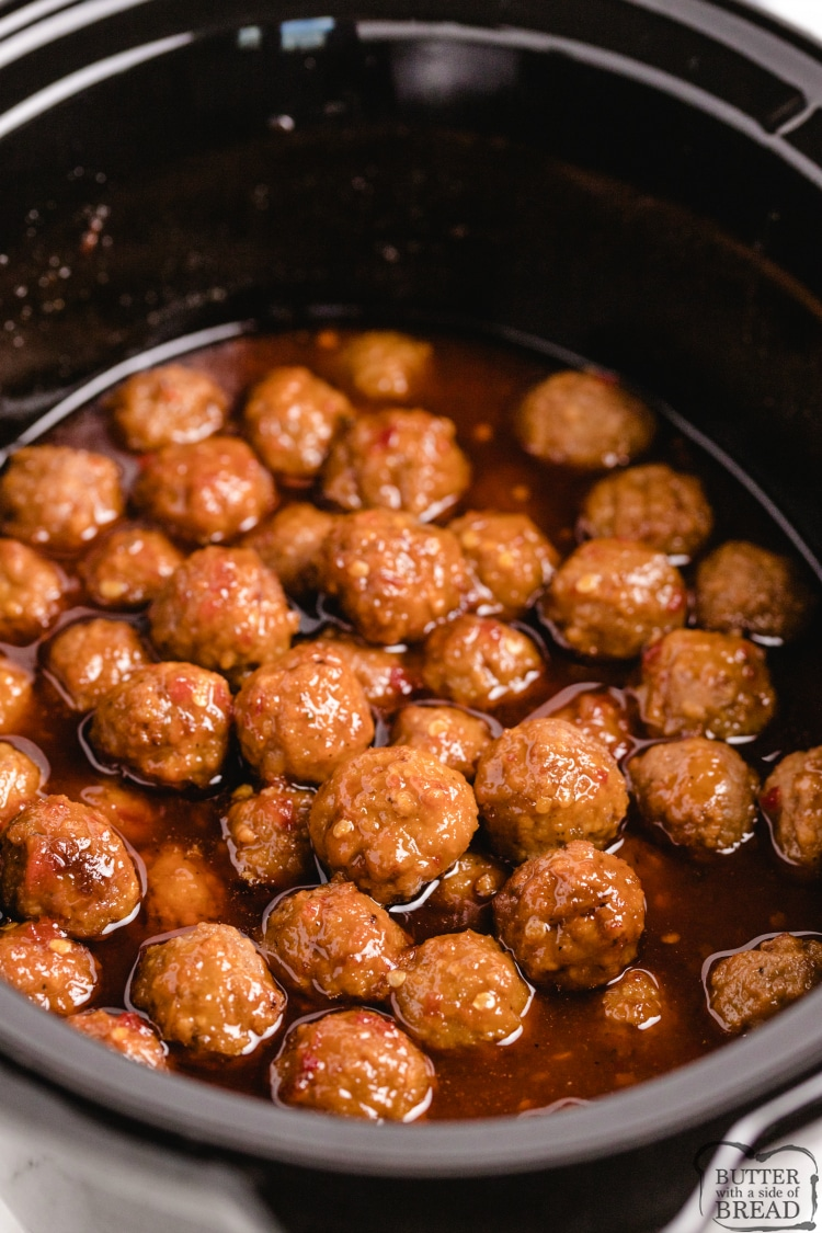 Cranberry meatballs made with a simple sauce in the slow cooker