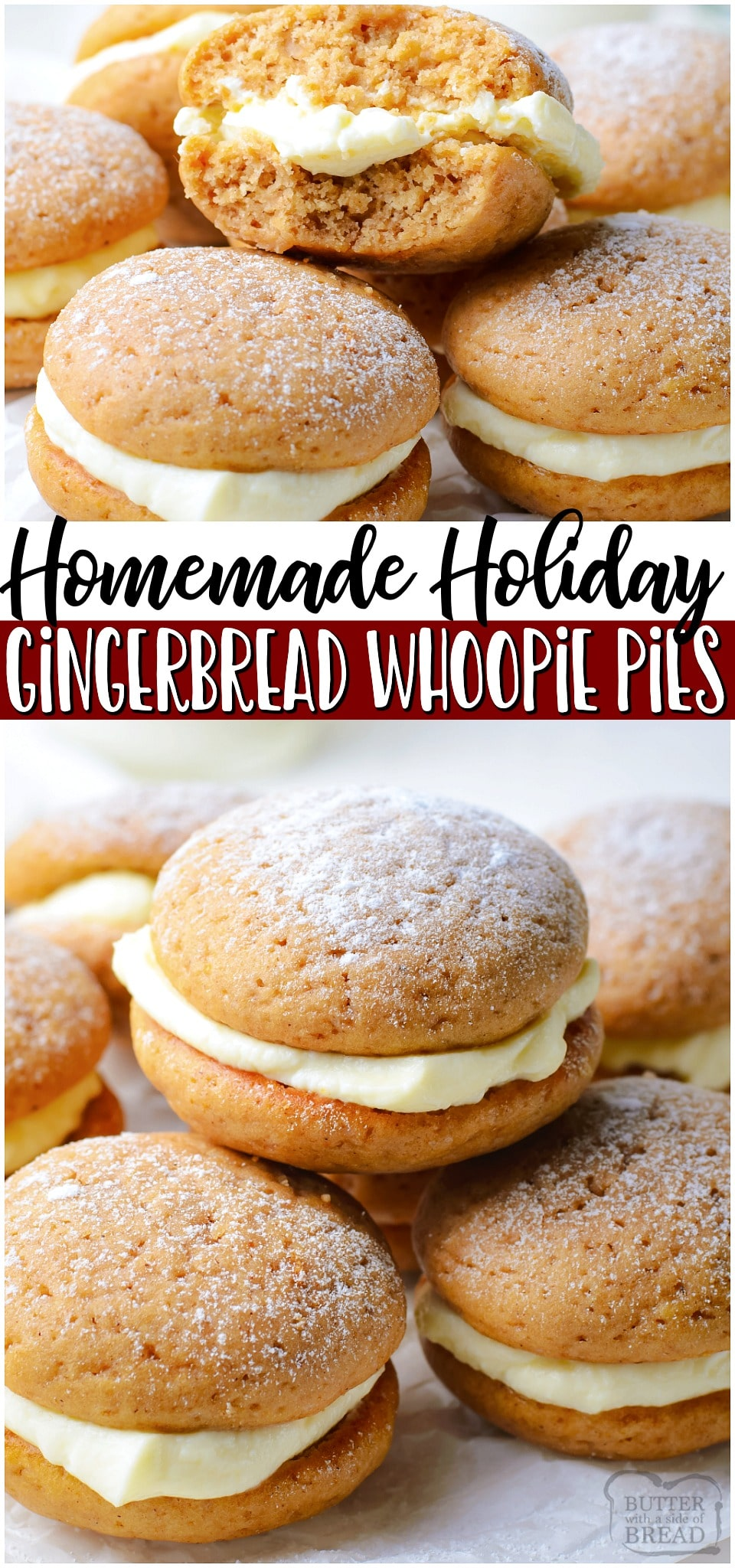 Gingerbread whoopie pies are soft, spiced gingerbread cookies with a lovely cream cheese filling. Perfect gingerbread treat for the holidays!