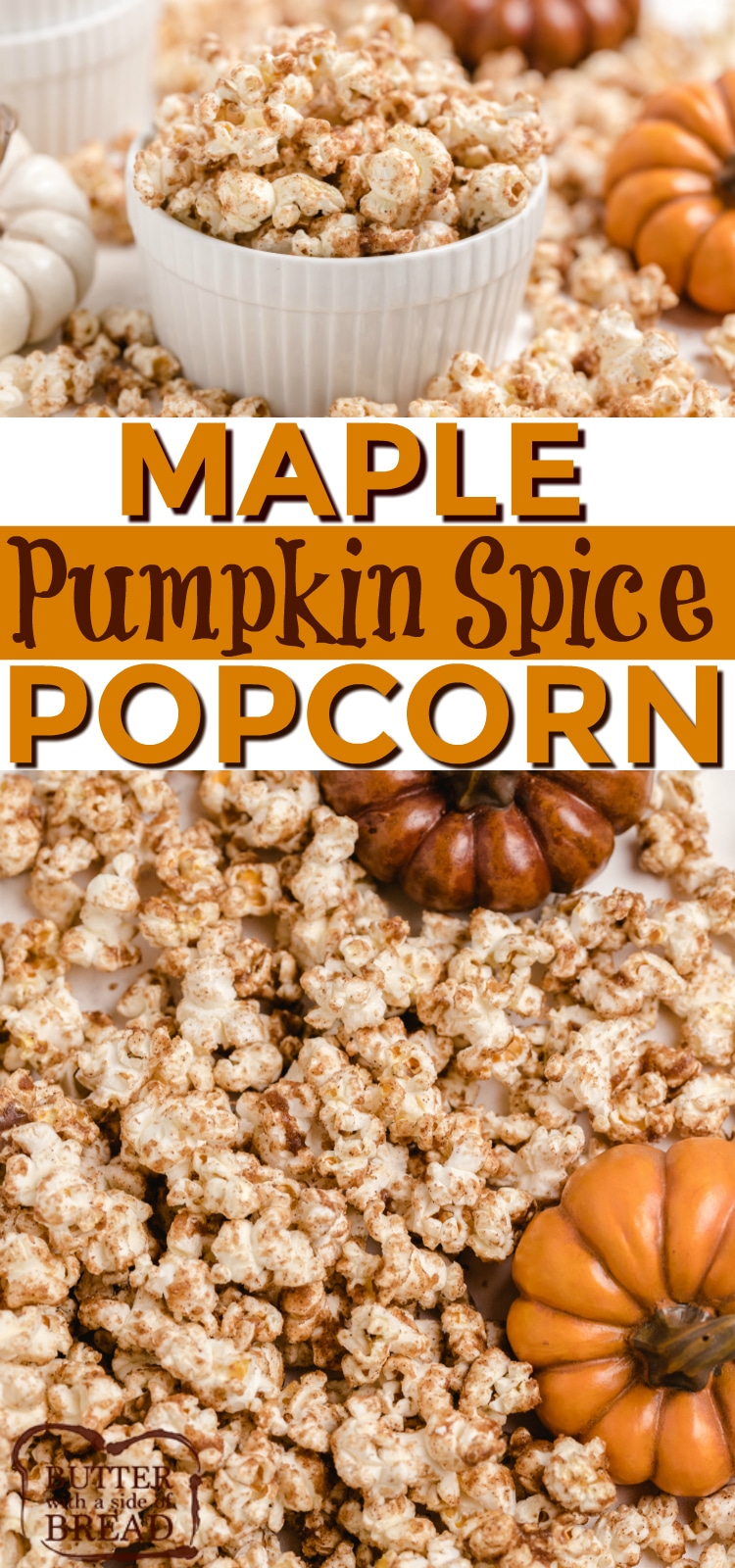 Maple Pumpkin Spice Popcorn is a little bit like caramel popcorn, but full of fall flavors. Made with brown sugar, maple syrup, pumpkin pie spice and butter - only 4 ingredients needed to make absolutely delicious popcorn!