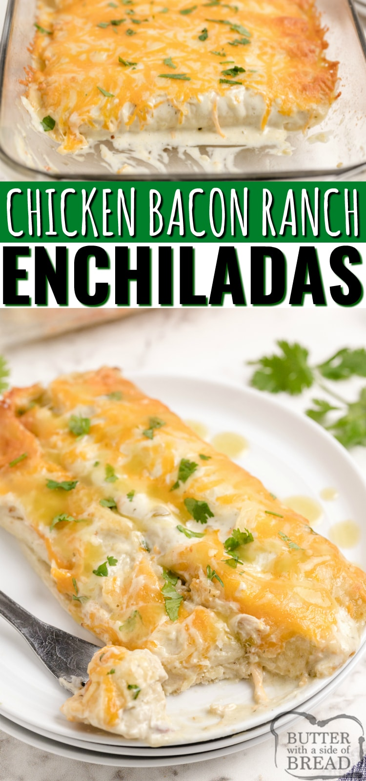 Chicken Bacon Ranch Enchiladas made with chicken, bacon, ranch dressing and cheese. Simple chicken enchilada recipe with a little bit of a twist! Easy dinner recipe that comes together quickly with tons of flavor that even the pickiest eater will love.
