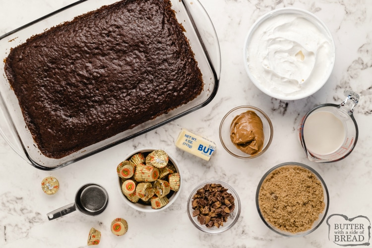 Ingredients in chocolate poke cake recipe with caramel and peanut butter