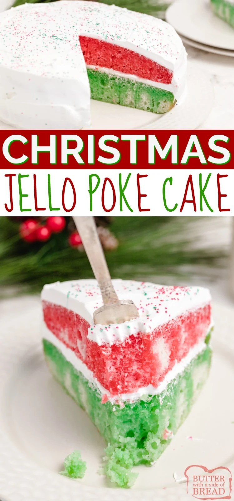 Christmas Jello Poke Cake uses a cake mix and red and green Jello to make a simple and delicious holiday dessert! This Christmas cake recipe is easy to make and absolutely beautiful to serve!