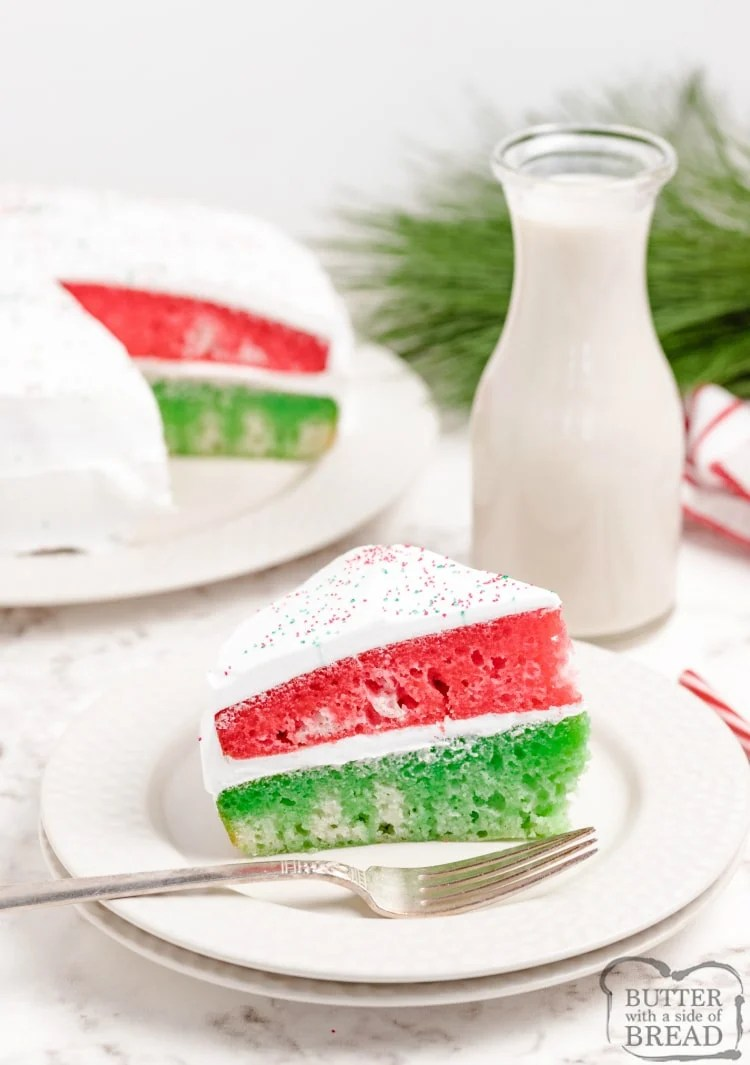Christmas cake recipe made with red and green jello and white cake mix