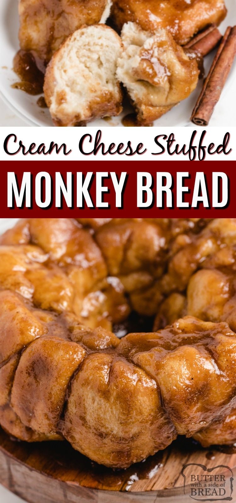 Cream Cheese Stuffed Monkey Bread - warm, gooey cinnamon rolls made with frozen rolls that are filled with cream cheese and coated in brown sugar, butter and cinnamon sugar. Only 5 ingredients to make delicious cinnamon roll monkey bread!