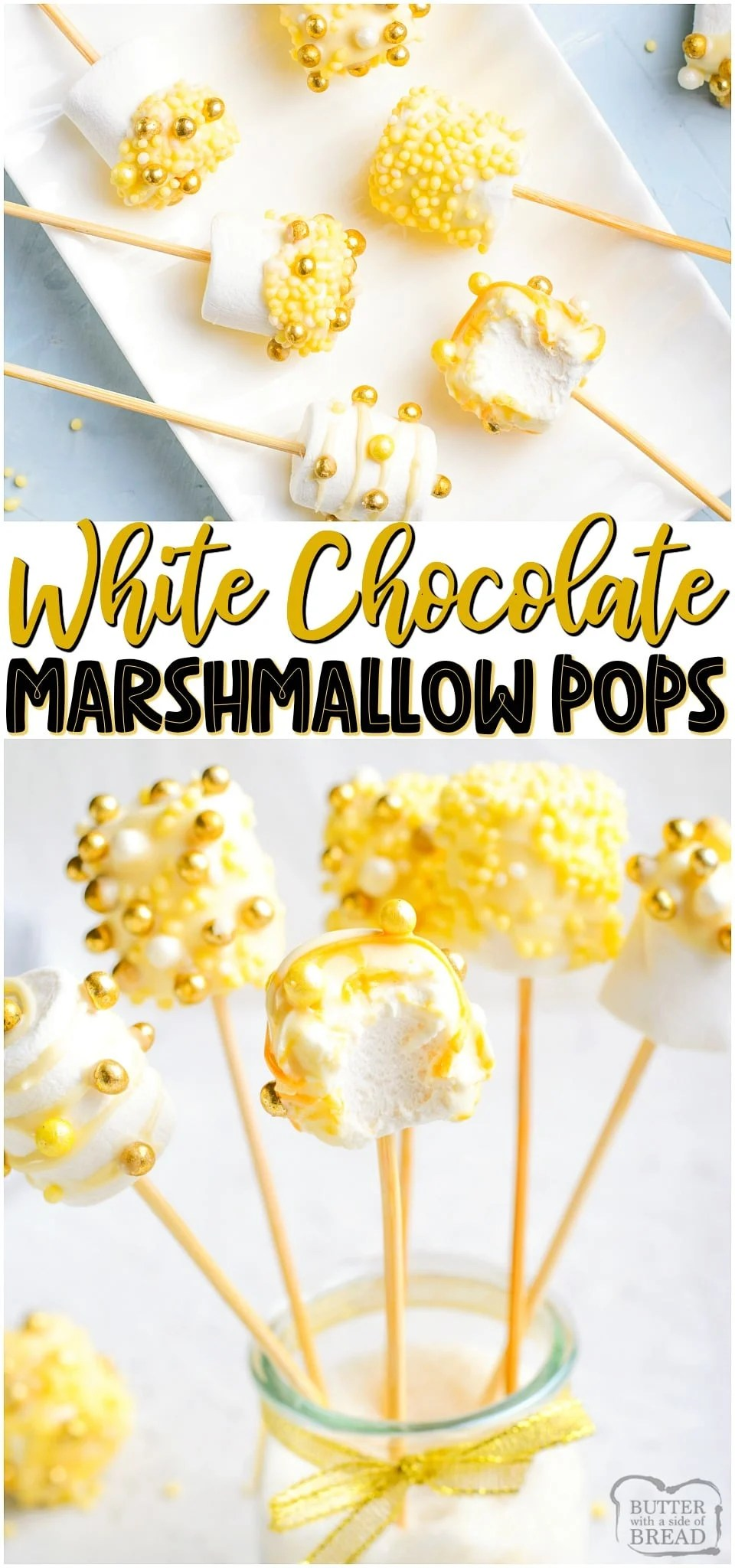 White Chocolate Covered Marshmallow Pops made with gold sprinkles for a simple, festive New Year's treat! Easy recipe for festive chocolate dipped marshmallows! #marshmallows #pops #whitechocolate #newyears #easyrecipe #dessert from BUTTER WITH A SIDE OF BREAD